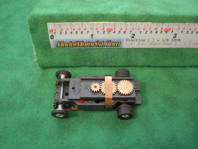 Top view of Aurora Thunderjet Tuff Ones Slot Car Chassis