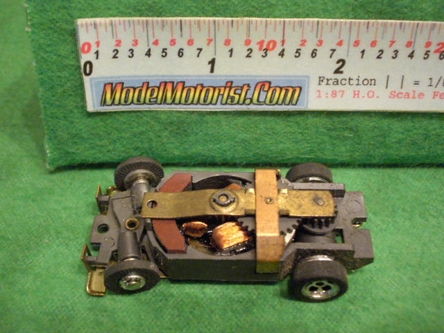Top view of Aurora XLerators Diode 1 HO Slotless Car Chassis