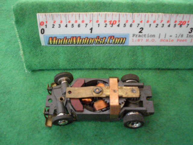 Top view of Aurora XLerators Diode 3 HO Slotless Car Chassis
