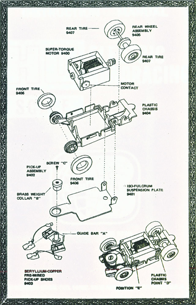 Exploded view of Bachmann Blasters HO Slot Car Chassis