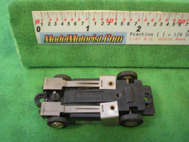 Bottom view of Bachmann HO Slot Car Chassis