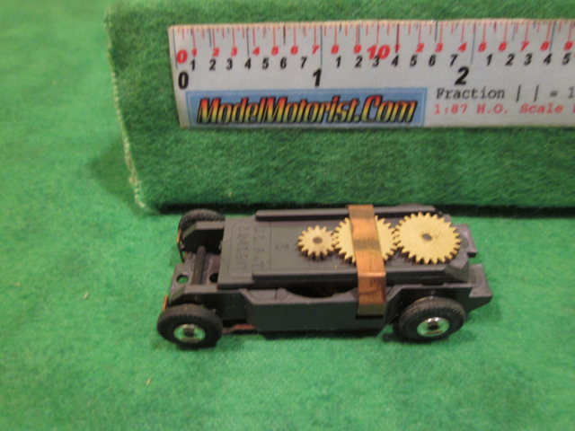 Top view of Bauer 60's HO Slot Car Chassis