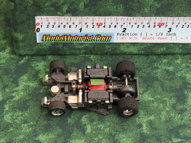 Top view of Cox HO Slot Car Chassis