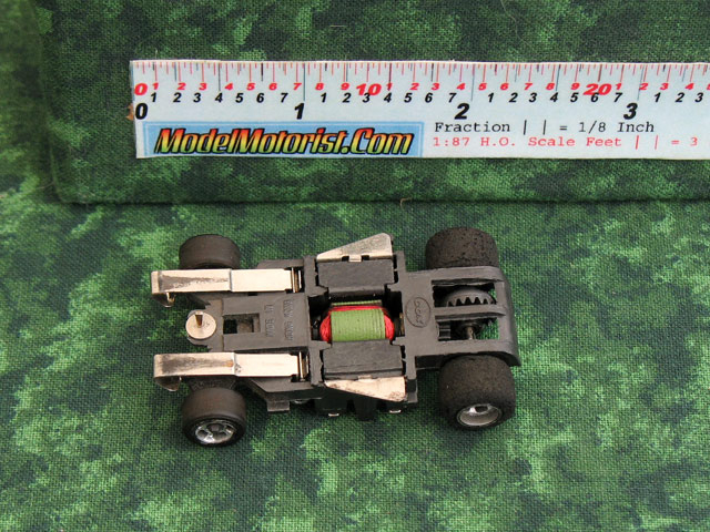 Bottom view of Cox HO Slot Car Chassis