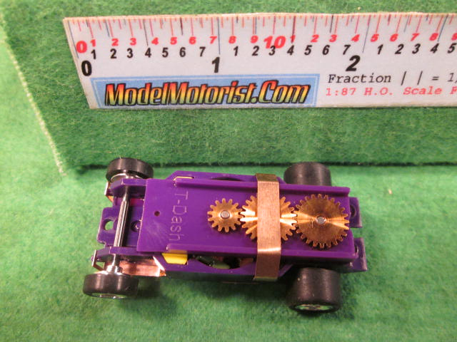 Top view of Dash Dark Purple HO Slot Car Chassis