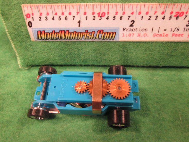 Top view of Dash Light Blue HO Slot Car Chassis