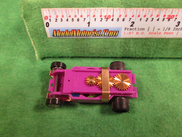 Top view of Dash Light Purple HO Slot Car Chassis
