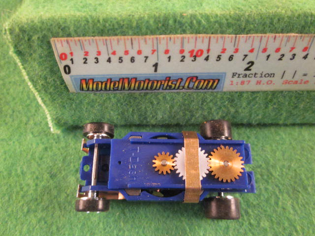 Top view of Dash Mondo Grip IROC Blue HO Slot Car Chassis
