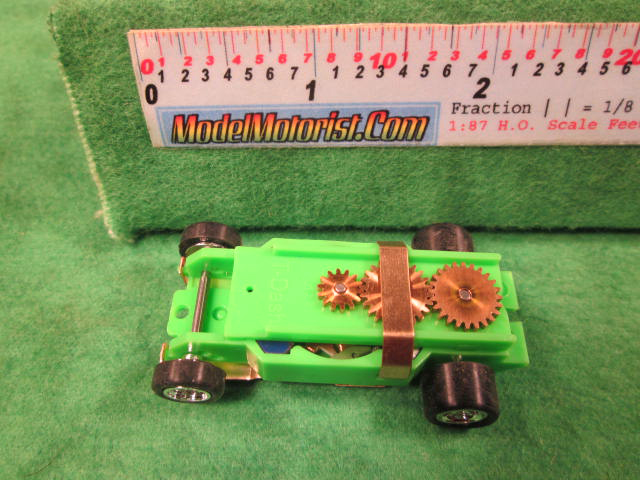 Top view of Dash Neon Green HO Slot Car Chassis
