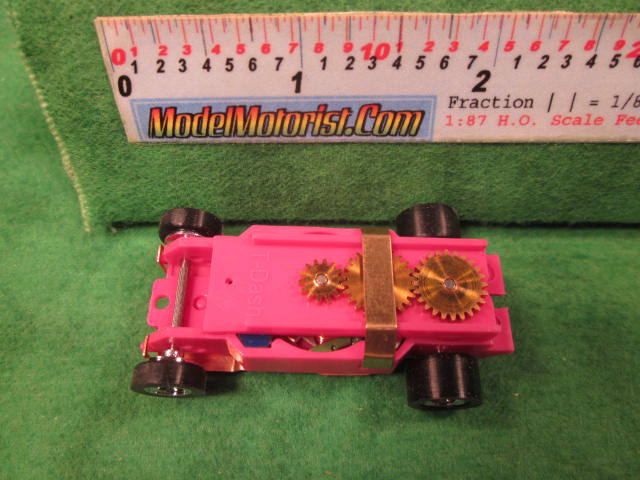 Top view of Dash Pink HO Slot Car Chassis