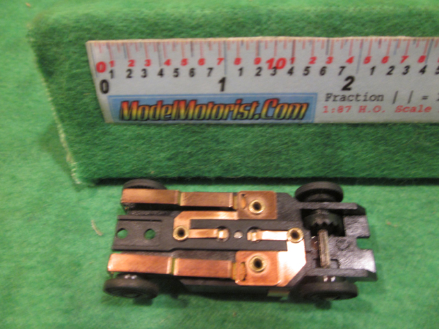 Bottom view of Dash T HO Slot Car Chassis
