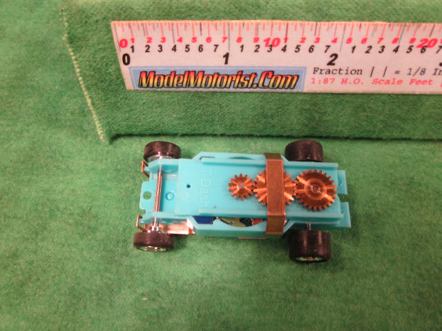 Top view of Dash Turquoise HO Slot Car Chassis