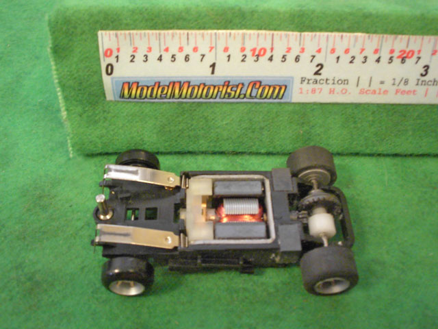 Bottom view of Ideal Total Control Racing HO Slot Car Chassis