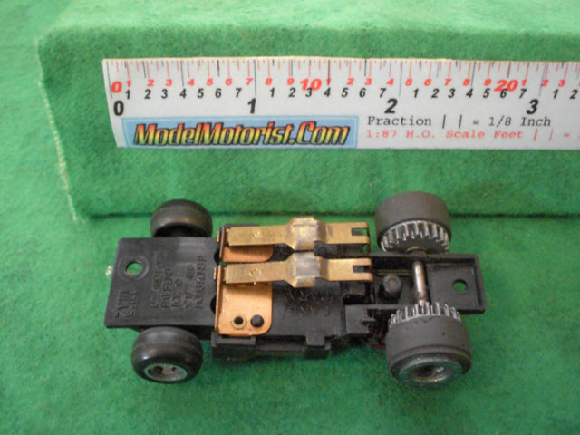 Bottom view of Ideal Passing MK2 A HO Slotless Car Chassis