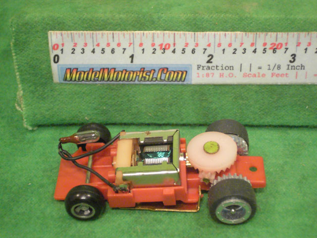 Top view of Ideal Passing MK2 Red A HO Slotless Car Chassis
