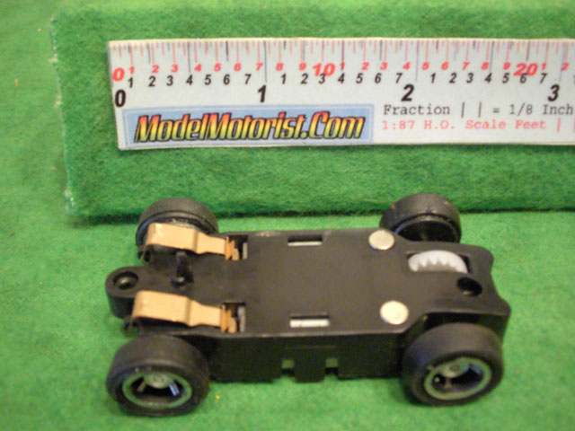 Bottom view of JJ Toys HO Slot Car Chassis