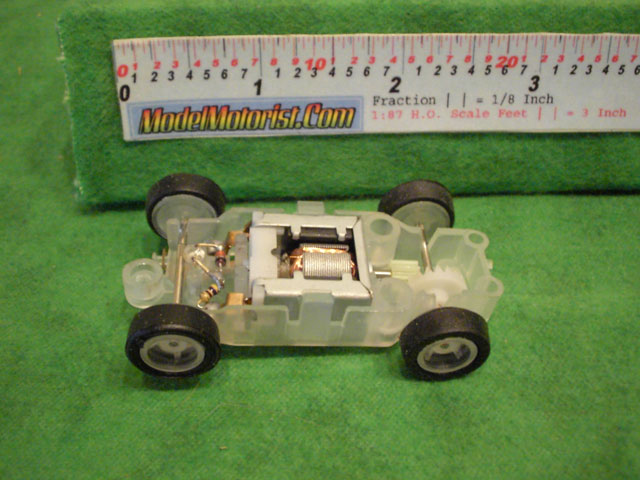 Top view of JJ Toys Lighted HO Slot Car Chassis