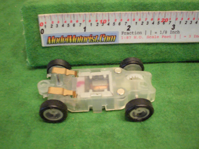 Bottom view of JJ Toys Lighted HO Slot Car Chassis
