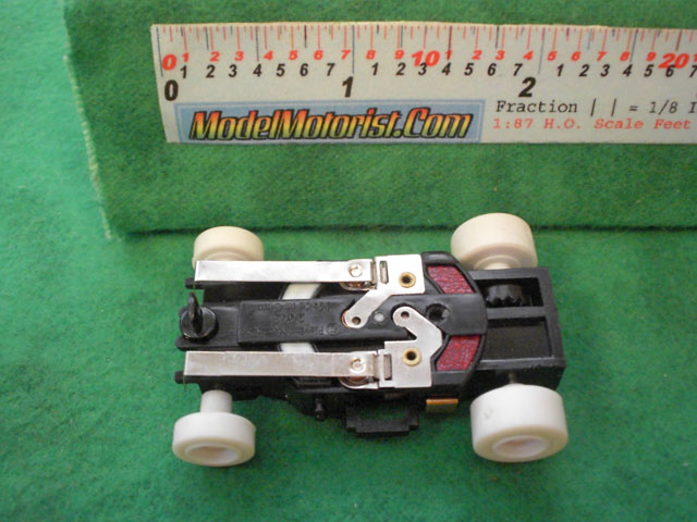 Bottom view of X-Traction HO Slot Car Chassis