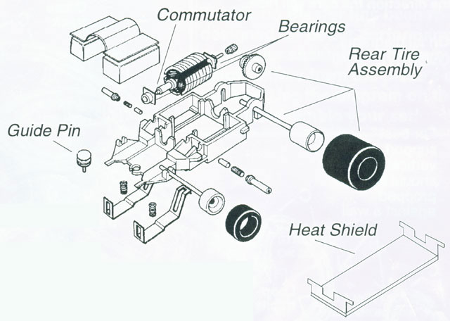 Exploded view of Life-Like M-Car HO Slot Car Chassis