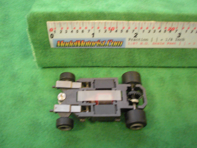 Bottom view of Life-Like M-Car HO Slot Car Chassis