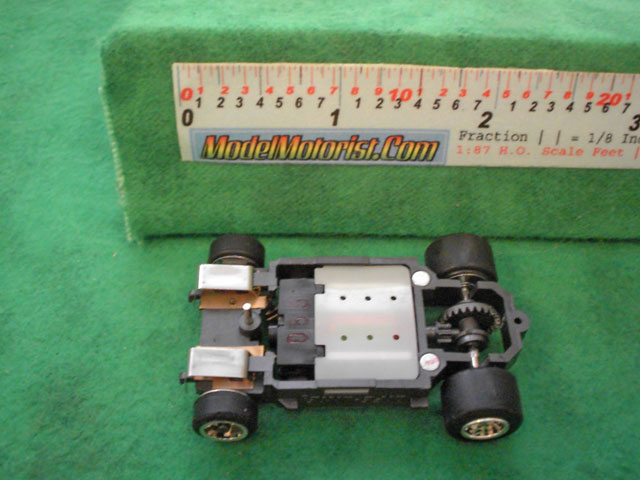 Bottom view of Life-Like Fast Tracker HO Slot Car Chassis