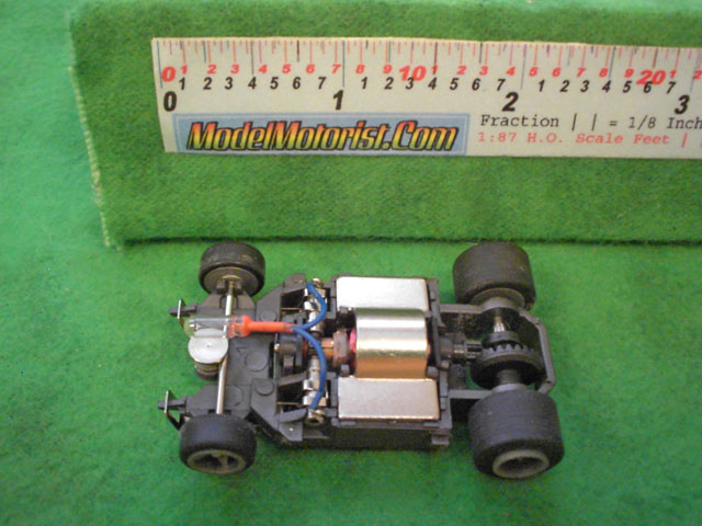 Top view of Life-Like Lighted M-Car HO Slot Car Chassis
