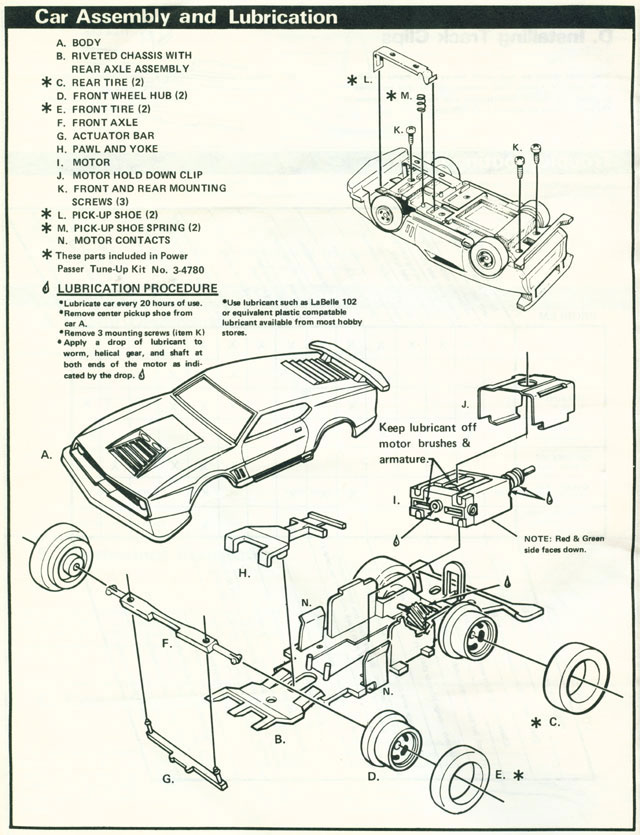 Exploded view of view of Lionel Power Passers A HO Slotless Car Chassis