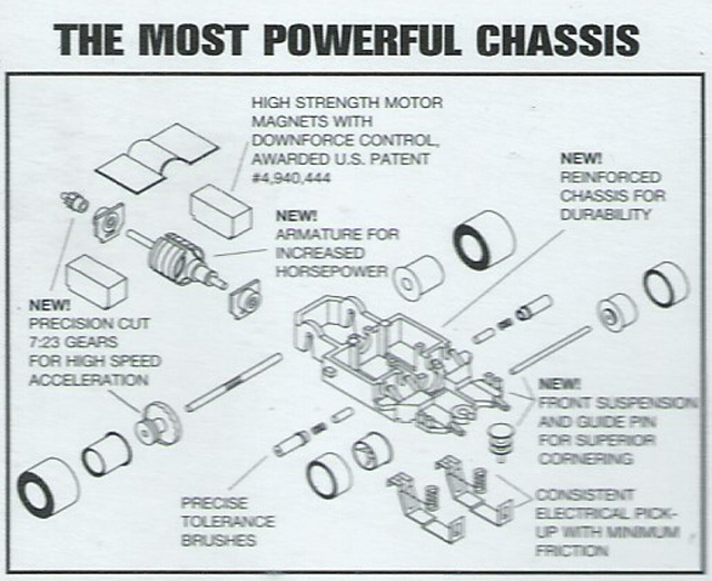 Exploded view of Life-Like Power Trackers M-Car HO Slot Car Chassis