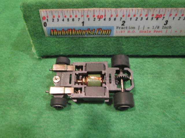 Bottom view of Life-Like Power Trackers M-Car HO Slot Car Chassis