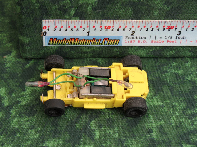 Top view of MR1 Lighted Yellow HO Slot Car Chassis