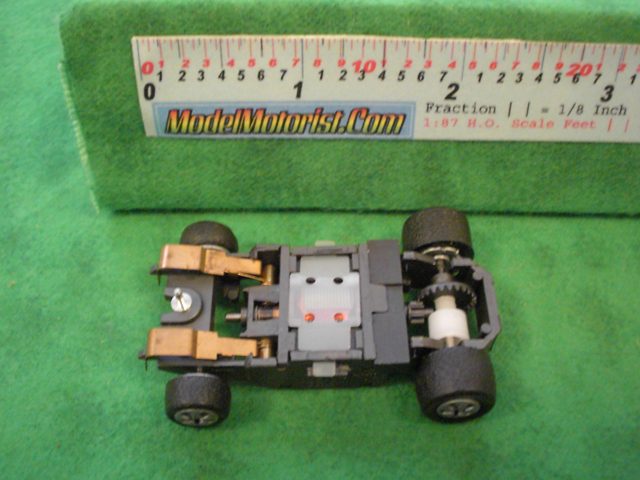 Bottom view of Mattel 440 Electric Hot Wheels HO Slot Car Chassis