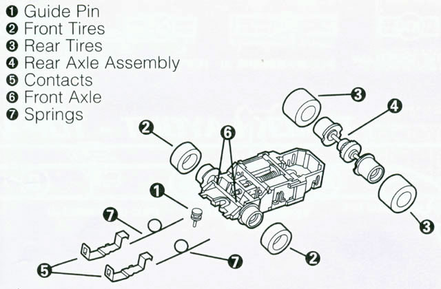 Exploded view of Mattel HPX2 Electric Hot Wheels HO Slot Car Chassis