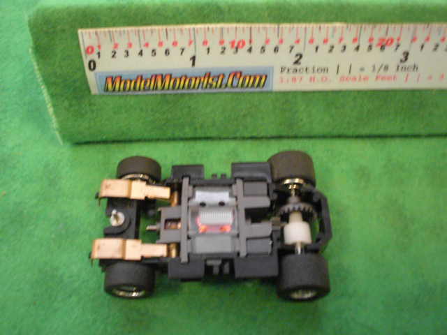 Bottom view of Mattel HPX2 Electric Hot Wheels HO Slot Car Chassis