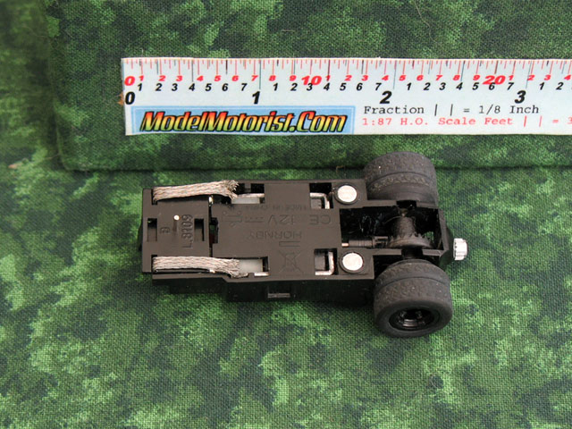 Bottom view of MicroScalextric Batman HO Slot Car Chassis