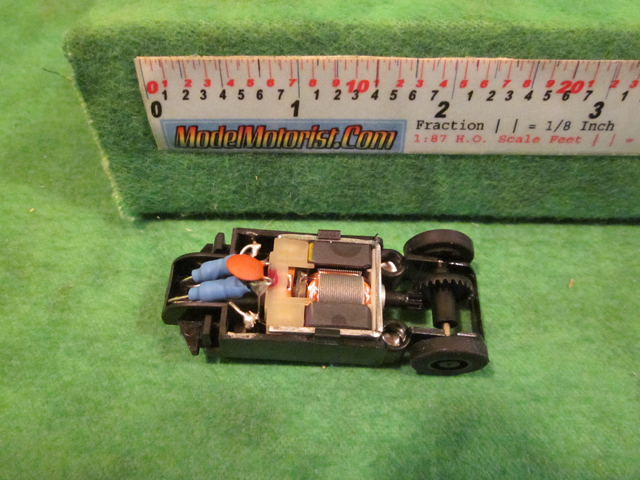 Top view of MicroScalextric Bicycle HO Slot Car Chassis