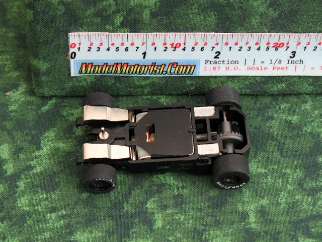Bottom view of MicroScalextric MR 1 Racing HO Slot Car Chassis