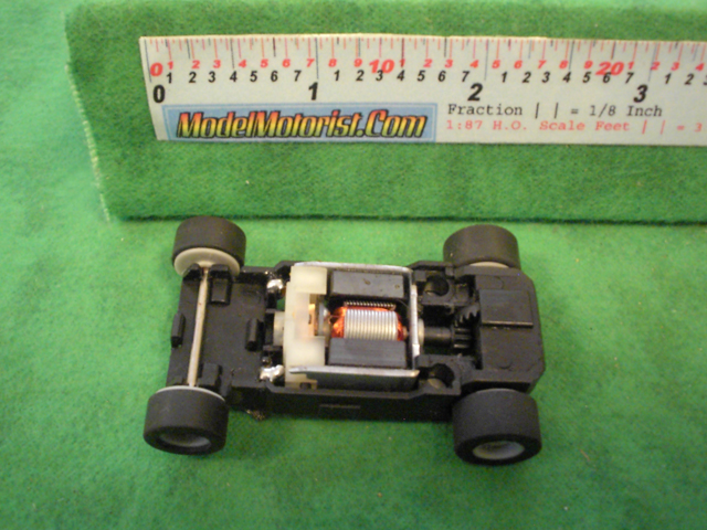 Top view of MicroScalextric Narrow Mount HO Slot Car Chassis