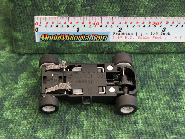 Bottom view of MicroScalextric Wide Mount HO Slot Car Chassis