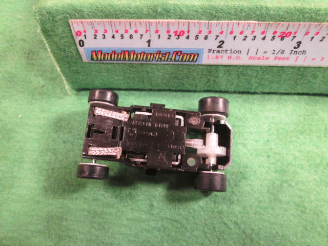 Bottom view of MicroScalextric 12 Volt HO Slot Car Chassis