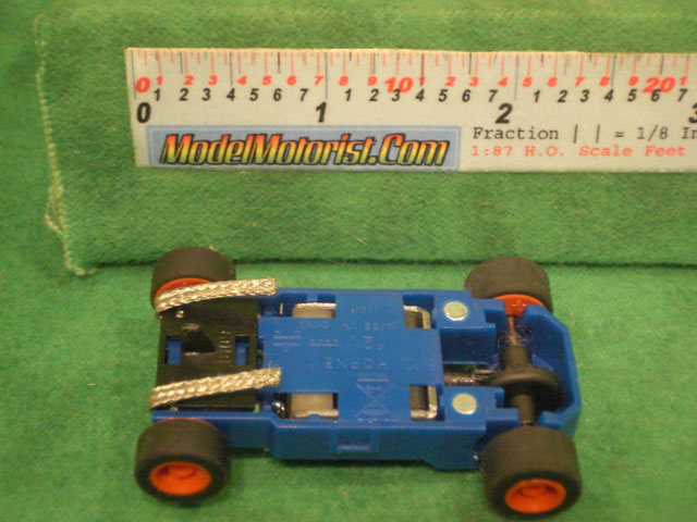 Bottom view of MicroScalextric Toy Story HO Slot Car Chassis