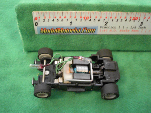 Top view of MR1 Racing Dual Lighted HO Slot Car Chassis