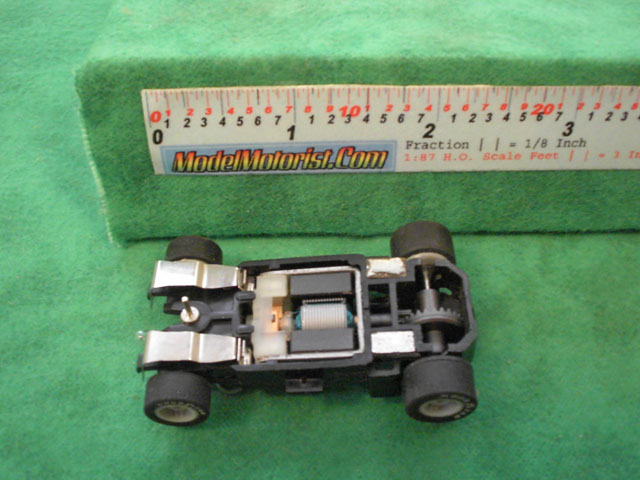 Bottom view of MR1 Racing Dual Lighted HO Slot Car Chassis
