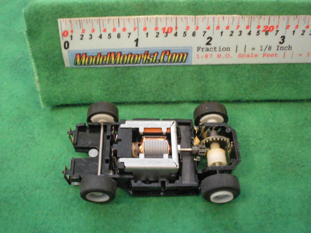 Top view of MR1 Disney Racing HO Slot Car Chassis