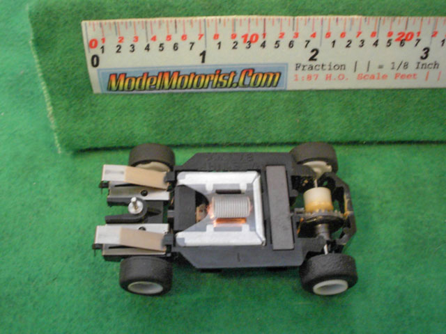 Bottom view of MR1 Disney Racing HO Slot Car Chassis
