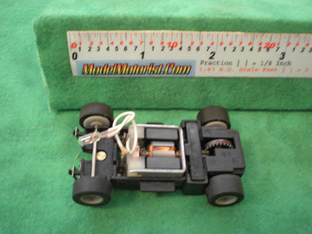Top view of MR1 Racing Lighted HO Slot Car Chassis