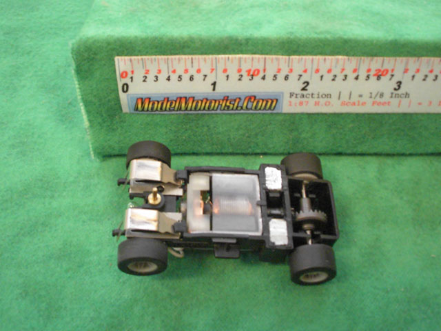 Bottom view of MR1 Racing Lighted HO Slot Car Chassis