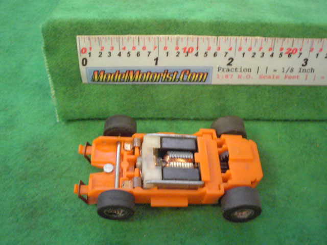 Top view of MR1 Racing Orange HO Slot Car Chassis