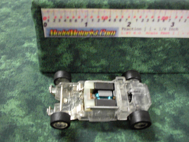 Top view of MR1 Racing Transparent HO Slot Car Chassis