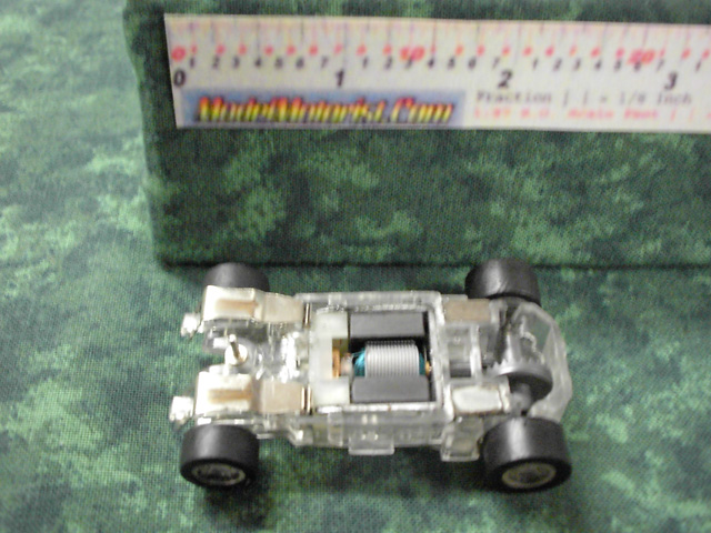 Bottom view of MR1 Racing Transparent HO Slot Car Chassis